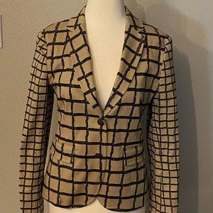 RAG & BONE Tailored Fit Cotton Blazer Grid Plaid